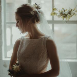 William Morris lace wedding dress