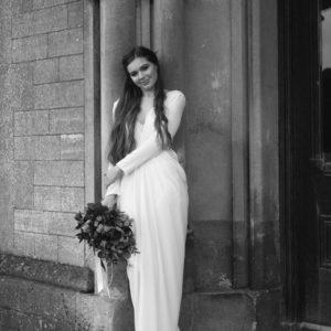 Pleated tulip wedding dress