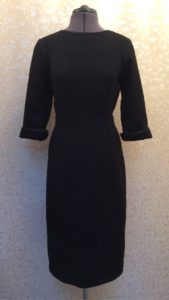 Black bouclé wool dress